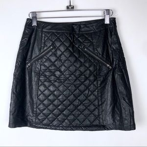 Sparkle & Fade Faux Leather Quilted Skirt Zipper